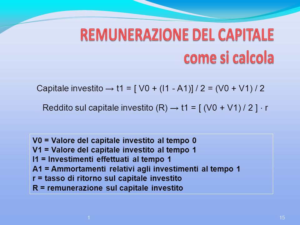 Reddito sul capitale investito (R) → t1 = [ (V0 + V1) / 2 ] ⋅ r